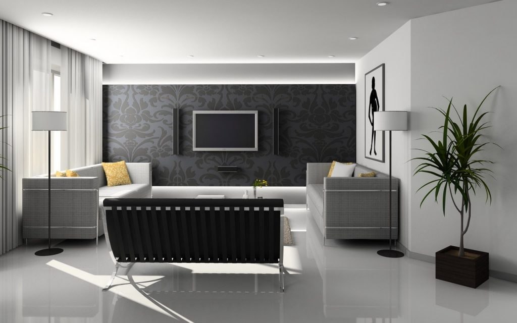 Grey coloured minimalistic lounge with grey coloured wall